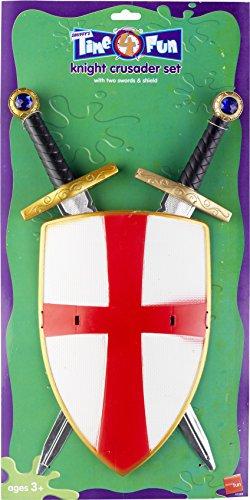 Kreuzfahrer-Ritter Set mit zwei Schwertern und Schild 50cm, One (Erwachsene Ritter Kreuzfahrer Kostüme)