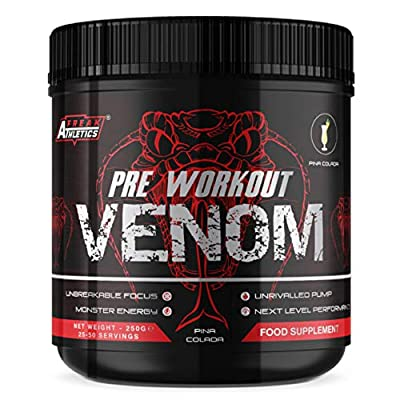 Pre Workout Venom 'Pina Colada' - Pump Pre Workout Supplement by Freak Athletics - Elite Level Pre Workout Supplement - Pre Workout Powder Made in The UK - Available in Pina Colada by Freak Athletics