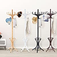 Costway Floor Standing Hat Coat Jacket Hanger Solid Wood Storage Stand w/ Umbrella Rack (White)