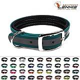 BioThane Halsband mit Dornschnalle / gepolstert / 19 mm breit / 4 Längen [26-32 cm] / 48 Farben [Petrol (Türkis-Grün)-Reflex]