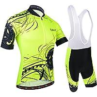 BXIO Moda Hombre Jersey de Ciclo de la Bici Amarillo Fluo Raza de Camino Amarillo Medio
