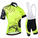 BXIO Hombres Jersey de Ciclo Bike Wear Yellow Fluo Road Race X-Large Amarillo