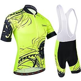 BXIO Uomini Cycling Jersey Fluo Yellow Bike Wear Road Race 183