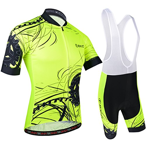 BXIO Uomini Cycling Jersey Fluo Yellow Bike Wear Road Race 5XL Giallo