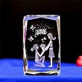 qianyue Cubo di Cristallo Cubo di Modello di fermacarte 3D con Incisione Laser Figurine Feng Shui Artigianato di Souvenir (Amare)