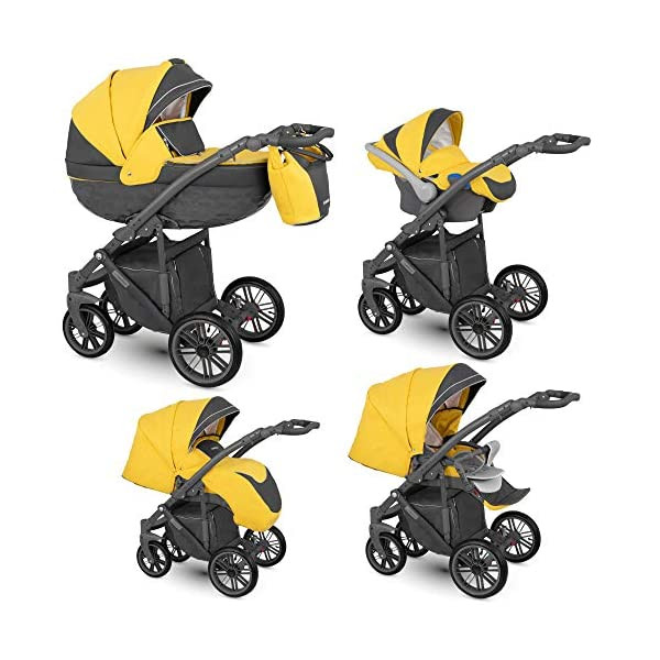 Lux4Kids Stroller Pram 2in1 3in1 Isofix Car seat 3 Colours Free Accessories Log Sand LO-03 4in1 car seat +Isofix Lux4Kids Lux4Kids LOG 3in1 or 2in1 pushchair. You have the choice whether you need a car seat (baby seat certified according to ECE R 44/04 or not). Of course the car is robust, safe and durable Certificate EN 1888:2004, you can also choose our Zoe with Isofix. The baby bath has not only ventilation windows for the summer but also a weather footmuff and a lockable rocker function. The push handle adapts to your size and not vice versa, the entire frame is made of a special aluminium alloy with a patented folding mechanism. 2