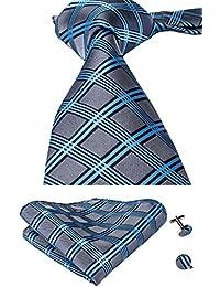 CAOFENVOO Juego de corbata, gemelos y pañuelo a juego, de seda, para hombre