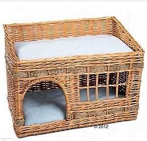 katzenh hle geflecht 2 etagen inkl 2 kissen ideal zum schlafen und ausruhen. Black Bedroom Furniture Sets. Home Design Ideas