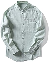 BaronHong Slim Fit Stand Round Collar Casual Camisas de Lino Tops de Manga Larga xApFT1kF
