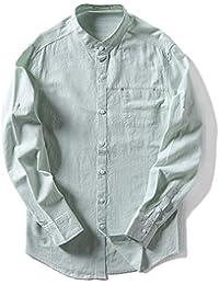 BaronHong Slim Fit Stand Round Collar Casual Camisas de Lino Tops de Manga Larga