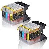 Tigtak® - 8 x Stück Druckerpatronen kompatibel für Brother LC-1220 LC-1240 LC1220 LC1240 für MFC-J430W MFC-J5910DW MFC-J6510DW MFC-J6710DW MFC-J825DW (2 Schwarz, 2 Blau, 2 Rot, 2 Gelb)