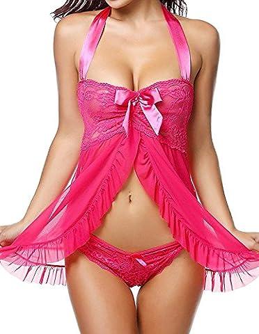 Vilania Unterwäsche Damen Reizwäsche Dessous Sexy Lingerie Babydoll Pyjama Set,UK-TXZ9070-Rose (Geschenke Für Den Mann Online-shopping)