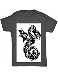 5162b5ccd03a2 8TN tribal dragon tattoo curl tail mixte enfant T Shirt - charbon - 7 ans