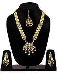 Multi-strand Long Length Traditional Pearl Jewellery Set With Mangtikka And Matching Golden Earrings For Women