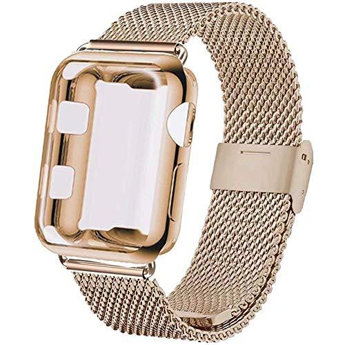 INZAKI Correa con Funda para Apple Watch 38mm, Malla de Acero Inoxidable Correa de Bucle con Protector Pantalla para iWatch Serie 3/2/1, Sport, Edition,Light Oro