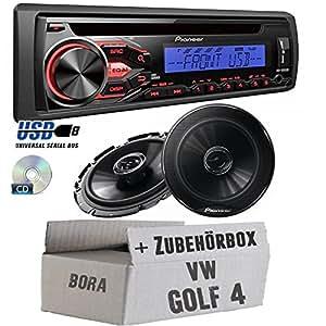 VW Golf 4 - Pioneer Radio DEH-1800UBB & Front o. Heck 16cm Lautsprecher TS-G1732i - Einbauset