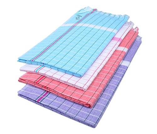 Sathiyas Sunrise Cotton Bath Towel 4 Pcs Combo (Lavender, Blue, Red, White)