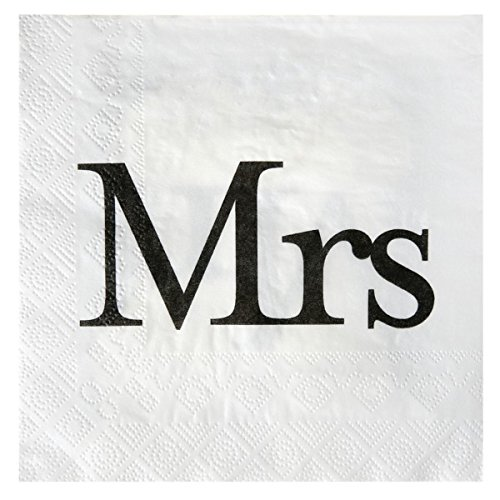 NEU Servietten Mrs. weiß mit Brautkleid, 20 Stück