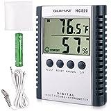 Hygrometer Thermometer, Quimat Feuchtigkeits-Meter Feuchtigkeit Monitor Innen / Außen Temperatur Messgerät Thermostat Sensor Sonde Reinigung Tuch Batterie inklusive (Grau)