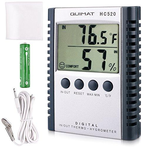 Temperatur-feuchte-sensor (Thermometer Hygrometer, Quimat Thermo-Hygrometer Feuchtigkeits-Meter Feuchtigkeit Monitor Innen / Außen Temperatur Messgerät Thermostat Sensor Sonde Reinigung Tuch Batterie inklusive (Grau))