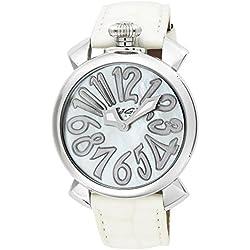 GaGa Milano Damen-Armbanduhr 40mm Armband Leder Weiß Gehäuse Edelstahl Saphirglas Batterie Analog 5020.8