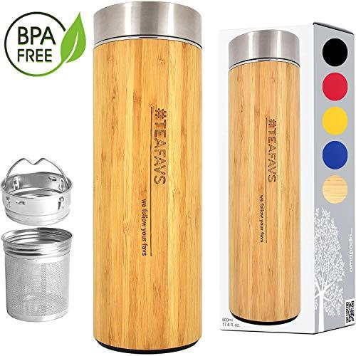 amapodo Thermosflasche Edelstahl mit Sieb 500 ml - Geschenk, Bambus Thermobecher 0,5 l, Kaffee und Tee to go
