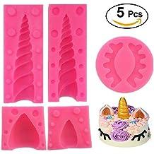 Juego de 5 moldes de silicona para tartas de unicornio con orejas y ojos, para