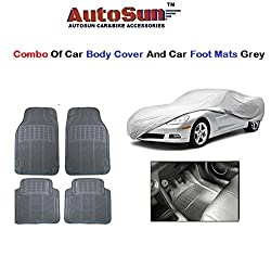 AutoSun Car Body Cover/ Car Foot Mats Set of 4 Pc Grey Mitsubishi Pajero (Old)