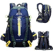 YUMOMO 40L impermeable Mochila de senderismo Trekking Camping Viajes al aire libre deporte mochila Pack Alpinismo escalada bolsa de mochila (azul oscuro, 40L)