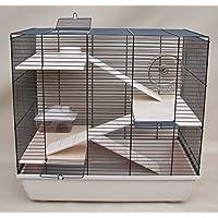 Nagerkäfig, Hamsterkäfig, Käfig, Etagen-Käfig REX 3 beige Holzausstattung
