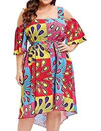 dfa6f8a436 DOLLAYOU Fashion Womens Sexy Plus Size Print Lace up Short Sleeve Backless  Dress Summer Beach Holiday