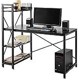 4estantes Escritorio Estudiante PC Estación de trabajo portátil mesa mesas de Home Office con baldas de almacenamiento negro para el estudio/dormitorio/sala de estar/oficina