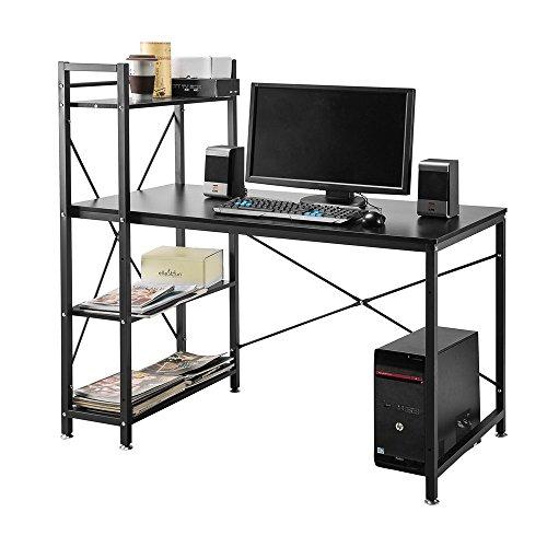 4estantes Escritorio Estudiante PC Estación de trabajo portátil mesa mesas de Home Office con baldas de almacenamiento negro para el estudio/dormitorio/sala de