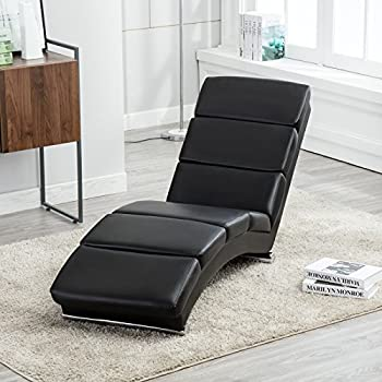 UEnjoy Deluxe Floor Chaise Lounge Leisure Black Sofa Bed Recliner Leather  Chaise Chair Resilience Cushion