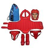 Boxing Protect Gear Set Helm Brust Groin Shin Protector für Kampfsport Kickboxen Taekwondo Muay Thai MMA Ausbildung Karate Sparring Body Protector mit Tasche (Farbe : Rot, Größe : L)