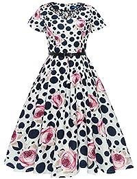 Damen Kurzarm Kleid Maxikleider Blumenkleid Drucken Strandkleid Vintage  Abendkleid Rundhals Hohe Taille Elegant Floral Print Hepburn adeb6e42d9