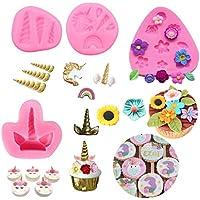 Mini molde de unicornio con diseño de orejas de cuerno y flores para decoración de pasteles