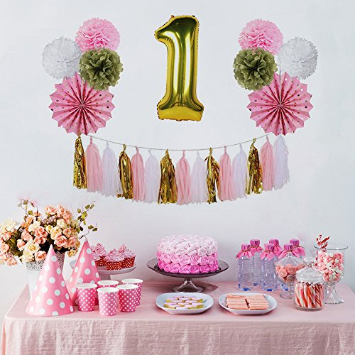 sunbeauty anniversaire 1 an fille rose or ballon deco. Black Bedroom Furniture Sets. Home Design Ideas