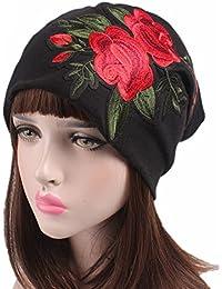 f290ca7f20f2f Samidy Women Rose Embroidery Turbans Headwear Head Scarf Head wraps Cancer  Hats (Black)