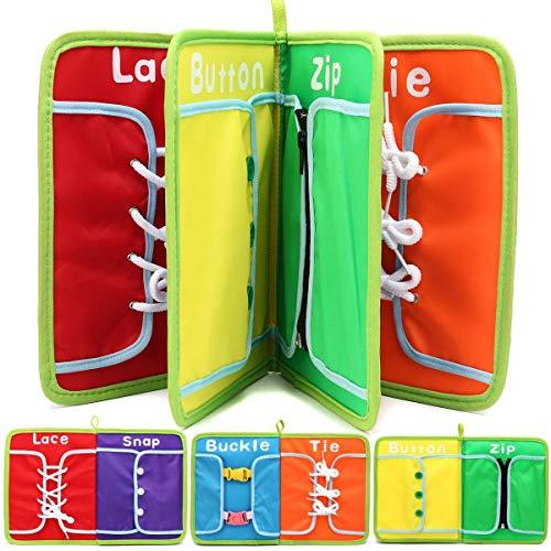 Irris Dream 1Pc Montessori Aprenda A Vestir Tablas Juguetes para Niños Libro Reservado Cierre con Cremallera Botón Hebilla De Encaje