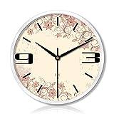 SEEKSUNG Wanduhren Stille Nicht tickt Uhren Wohnzimmer Schlafzimmer Metall Creativ Mute Scanning DREI Generationen von Smart-elektrischer Taktgeber (Farbe: Silber, Größe: 12 Zoll)