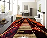 Yosot 3 D Bodenbelag High-End Custom Atemberaubende Lava Seil Brücke Zimmer Bodenbelag Fototapete 3D-250cmx175cm
