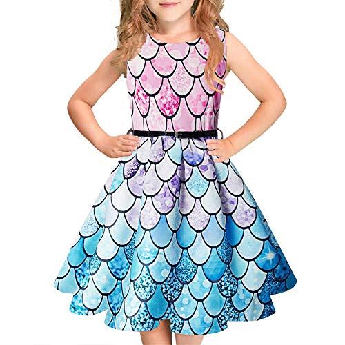 Idgreatim Mädchen Aermelloses Kleid 50er Jahre Vintage Swing Rockabilly Kleinkind Kleid Blumendruck Retro Party Kleider mit ()