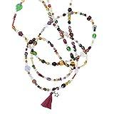 Kiss-Me!-Design Damen Halskette Anhänger Quaste Stern Unikat Handmade Perlenkette Boho-Style Hautschmeichler Länge: 136cm (Design 04)