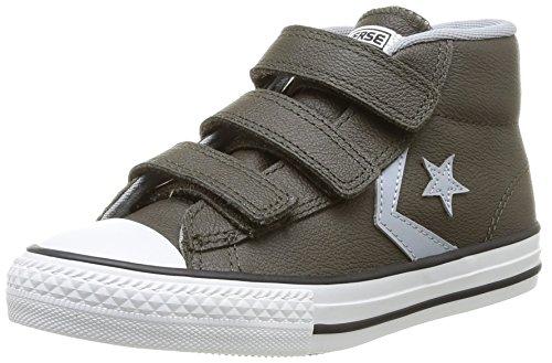 Converse Star Player 3V Leather Mid, Baskets mode mixte enfant Vert (62 Vert Foncé/Gris)