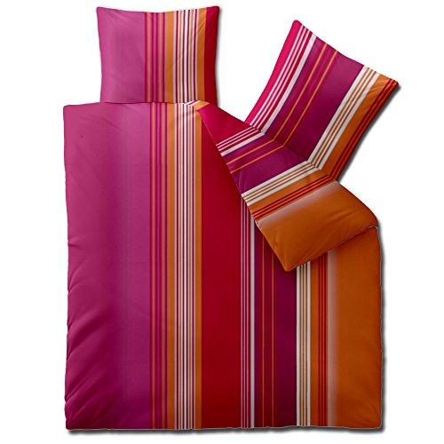 3-tlg. Bettwäsche 200x200 Mikrofaser, Concept Dora 0010881 Streifen orange pink lila rot