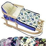 BambiniWelt Kombi-Angebot Holz-Schlitten mit Rückenlehne & Zugseil + universaler Winterfußsack (90cm), auch geeignet für Babyschale, Kinderwagen, Buggy, aus Wolle im Eulendesign (Eule §10)