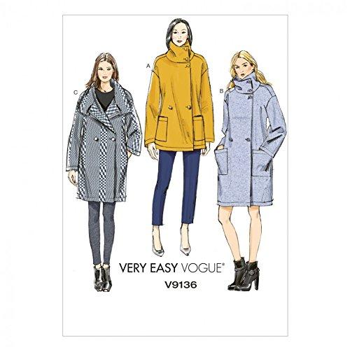 Vogue Damen Schnittmuster 9136eng Mäntel + kostenlosen Minerva Crafts Craft Guide