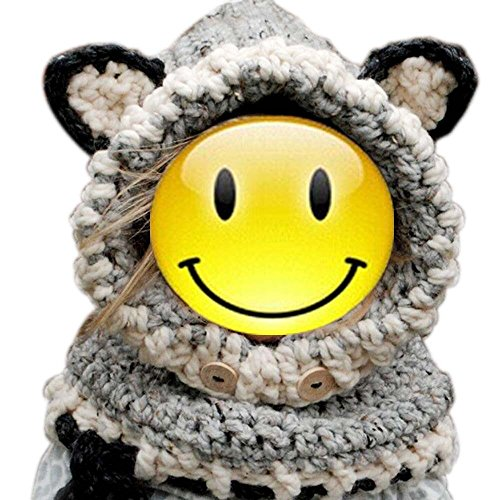 Malloom® Inverno Berretto Bambino Maglia Volpe Ragazze Capretti Ragazzi Lana Caldo Hood Sciarpa Ricopre Cappelli (A)
