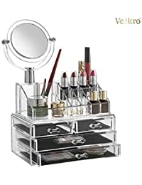 VelKro Acrylic Makeup Organizer 4Drawers with Removable Mirror Cosmetic Organizers Jewelry and Cosmetic Storage Grid Holders Display Box Colorless with Removable Black Mesh Padding - Clear Acrylic